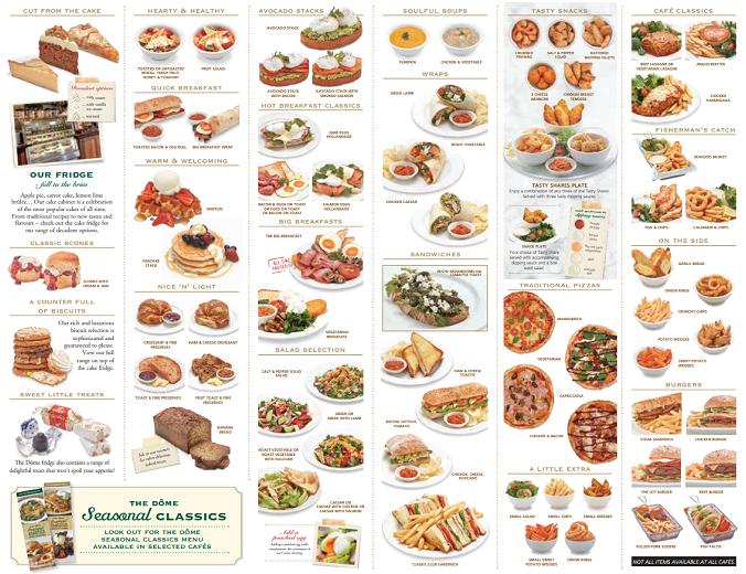 Dome food menu