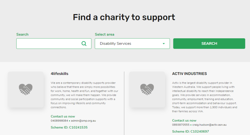 Find a charity to support